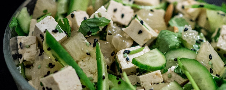 Vegan Sesame Cucumber Tofu Salad
